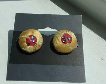 Lady bug fabric earrings