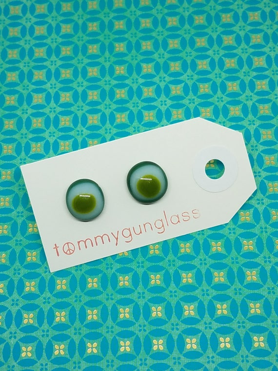 Green and White Glass Stud Earrings