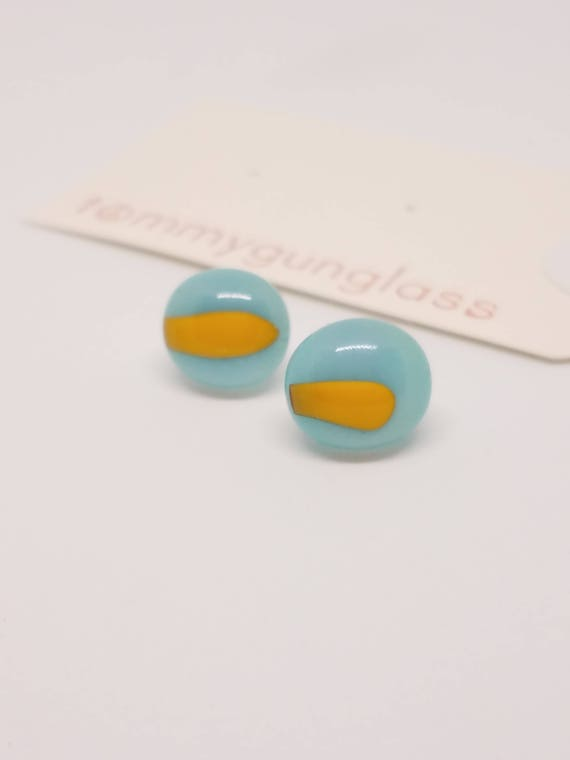 Turquoise Blue and Yellow Glass Stud Earrings