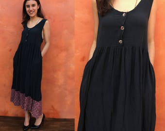 Vintage 1990s Black Rayon Grunge Dress. One size. Summer festival beach boho gypsy bohemian. maxi baby doll tank dress