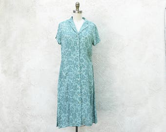 Vintage Mint Green Button Down Dress, Short Sleeve, Bias Cut Summer Frock