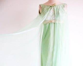 1/2 Off SALE Vintage Green Dress, 60s Mint Green Formal, 1960 Empire Waist Gown, Long Green Dress, Bridesmaid Prom or Reception Dress