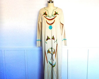 1/2 Off SALE Vintage Hippie Dress, Embroidered 70s Maxi, Long Cotton Gown