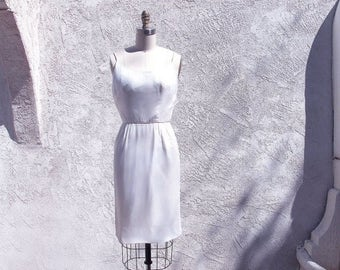 1/2 Off SALE White Silk Chiffon 60s Dress, Short Marilyn Monroe Spaghetti Strap, Wiggle, X Small Vintage, Pinup Frock