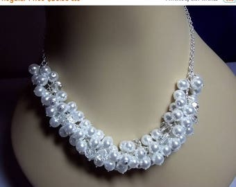 30% OFF SALE thru Mon Pearl and Crystal Cluster Necklace, Bridal Wedding Necklace Bridesmaid Jewelry Chunky Necklace Mothers Day Gifts Silve