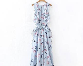 Women Bohemian Romantic Ruffled Vintage Floral Dress, fresh Dress, Floral Blouse Top, Blue Dress, Long Dress, Sexy Dress