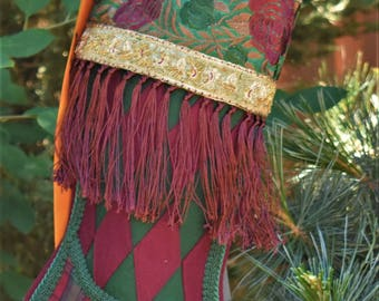 Scottish Inspired Christmas Stocking/Christmas Stocking/Vintage Christmas Stocking