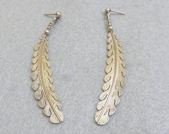 Sterling Silver Native American Style Feather Pierced Earrings