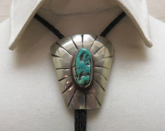 Huge Sterling Turquoise Native American  Bolo Tie, Traditional Bolo Tie