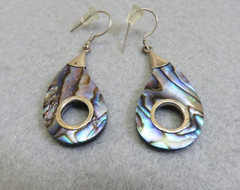 Sterling and Abalone Pierced Earrings, Vintage