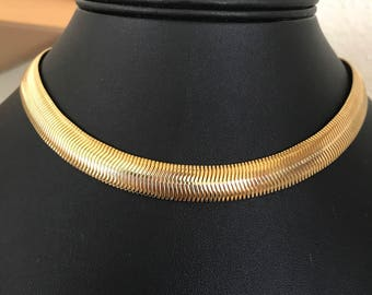Minimalist Classic Gold Plated 16 inch Long 11mm Snake Chain Choker