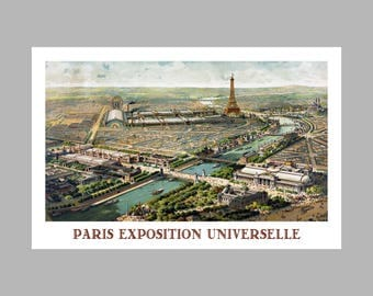 Paris France City Map - Panoramic  - Exposition - Birds Eye View - Print Poster