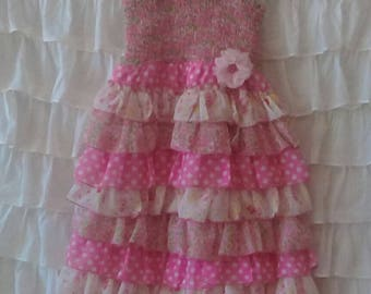 Summer Dress Altered, Party Dress, Girl's size 7 Pink Ruffle Tiered Polyester Dress, Savannah's Cottage Boutique