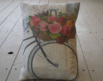 Roses Bike burlap Pillow, French Flower Postcard, Rustic French Farmhouse, Shabby Chic, INSERT INCLUDED