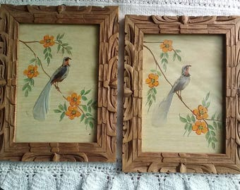 Feather Bird Pictures, Hand Painted, Hand Carved Wood Frames, Asian Style Decor,