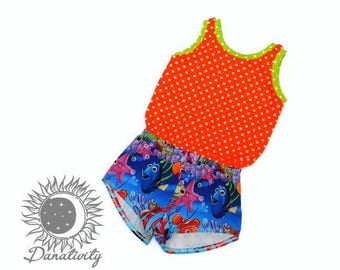 Nemo Romper || 4T girls romper || Girls One Piece Suit || Summer Outfit || Finding Nemo || Cute Girl Clothes || Polka Dots || Summer Shorts
