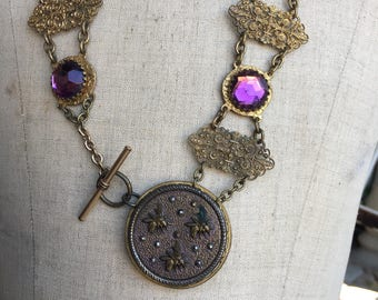 Victorian jewel encrusted bib necklace with large bee button assemblage art necklace