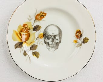 Skull Cake Tea Plate Yellow Rose Flowers Border White Vintage Bone China Made in England Wedding Anniversary Gift Wall Art Collage