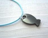 Hematite solid fish Pendant Necklace, healing and protection jewelry jewellery, fishing Jewellery,