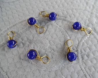 "Stitchmarkers for knitting, set of 6, ""Tardis"", up to 5 mm needles"
