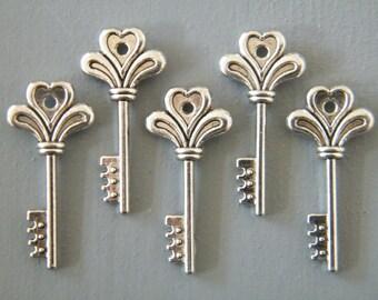 Potter - Skeleton Keys 26 Key Charms Antique Silver Skeleton Key Pendants
