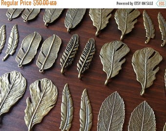 ON SALE 100 Antique Bronze/Brass Feather Leaf Pendants Bronze Natural Feather & Leaf Charms Bulk Feathers Leaves DIY Jewelry Making Charms