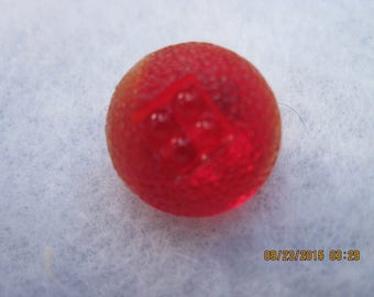ANTIQUE OUTSTANDING 1930's Ruby Red Depression Glass Button with Molded Top....#8