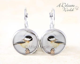Winter Chickadee Earrings - Silver Bird Jewelry, Chickadee in Snow, Chickadee Jewelry, Silver Bird Earrings, Chickadee Bird Jewellery