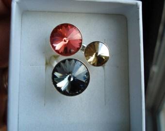 Silver ring triple cabochon grenadine grey Swarovski Crystal, Sun