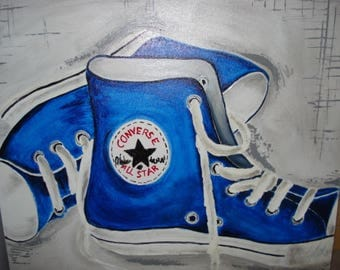 Blue canvas or acrylic painting converse