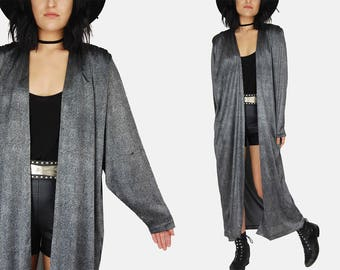 SPOTTED Black DUSTER Jacket Vtg 90s Silver Metallic Sybil California Maxi ROBE Kaftan Kimono Draped Boho Hippie Festival Coat - One Size