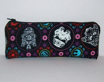 "Pipe Pouch, Star Wars, Sugar Skull, Pipe Case, Pipe Bag, Padded Pipe Pouch, Glass Pipes, Stoner Gifts, Padded Pouch, Zipper Bag - 7.5"" LARGE"
