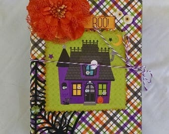 5 DOLLARS off in HOLIDAYS Halloween Album, Boo Chipboard Album, Brightly Colored Scrapbook, Ready to Fill Album, Halloween Scrapbook, Colorf