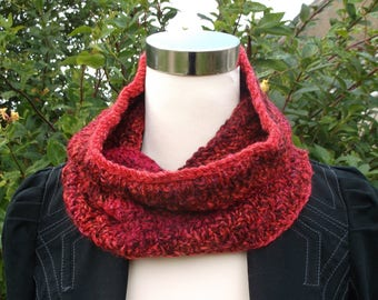 Unisex handknitted neckwarmer / cowl / infinity scarf. Red shades  OOAK