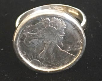 Sterling and Find Silver Coin Ring Walking Liberty Size 7 1/2