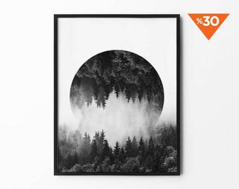 Mountain Print, Forest Poster, Foggy Mountain, Nature Wall Art, Tree Decor, Winter Art, Black and White, Photography Print, Natural Decor,