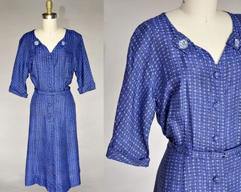 40s Royal Blue Checked Print Vintage Dress | Belted, Button Closures | Rhinestone Details