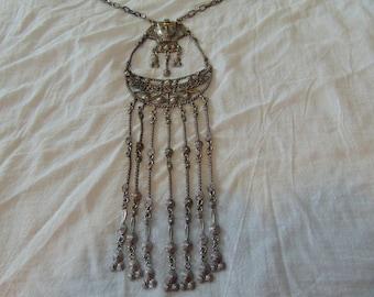 vintage antiqued silver egyptian dangles bib necklace