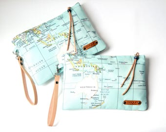 World Map Clutch Clutch, World Map Purse Wristlet Pouch, World Map Zippered Clutch, Wife Gift, Gift For Women, Valentines Day Gift For Her