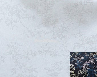 White fern and branch, on white, 1/2 yard, pure cotton fabric