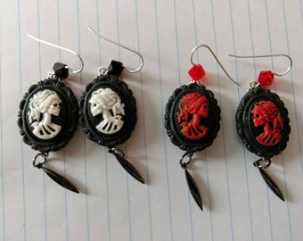 Red or White Lolita skeleton earrings gunmetal drops surgical steel fish hook swarovski bicones 18x13