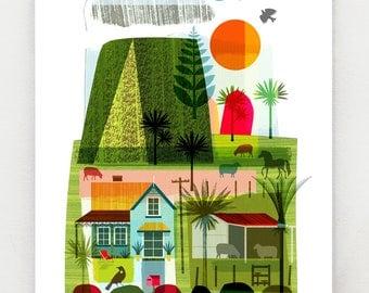 Evening on the Farm, New Zealand print