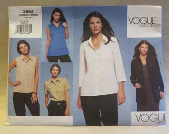 Vogue 2634 Blouse Top Jacket Sewing Pattern 12 14 16 FF