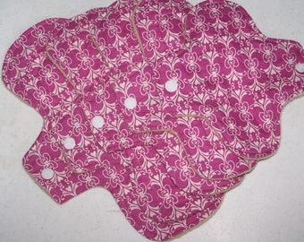 Cotton Top  pads sampler set of 5 pads  heavy flow ,moderate to regular flow, panty liner set