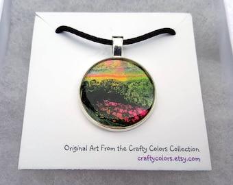 Mini Painting Pendant Original Abstract Art Wearable Art Necklace 3366