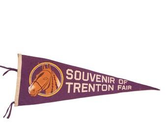Souvenir of Trenton Fair with Horse Felt Flag