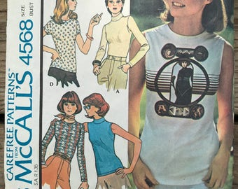 Vintage 70s McCall's 4568 Sewing Pattern / Vintage Stretch Knit Pattern Tops Circa 70s Size Medium 14/16