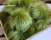 Olive Green Faux Fur Pom Poms Beanies Hats Keychains Purse Fob Charm Vegan Fake Plush Super  Soft Long Pile Craft Supply