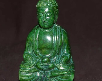 Ching Dynasty(19th century) Dark Green Jade Meditating Buddha Pendant