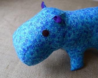 Handmade Hippo Stuffed Toy - Turquoise and Purple Dot